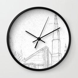Dallas Texas LDS Temple Sketch Wall Clock