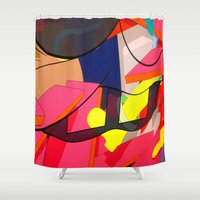 spongebob Shower Curtains featuring FAUX ABSTRACT SPONGEBOB  by FAUX NEW YORK