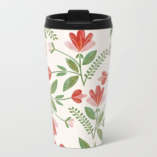 Floral Garden Pattern Metal Travel Mug