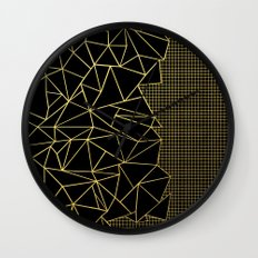 Abstract Outline Grid Gold Wall Clock