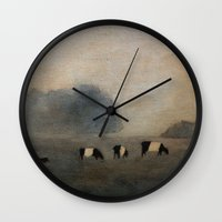 cows Wall Clocks featuring Cows by Claire Whitehead