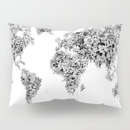 floral world map black and white Pillow Sham