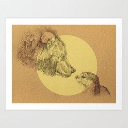 Bear Meets Otter Art Print