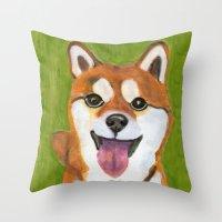 shiba inu Throw Pillows featuring Happy Shiba Inu by AnimalFrenzArt  -- Whimsical animal art