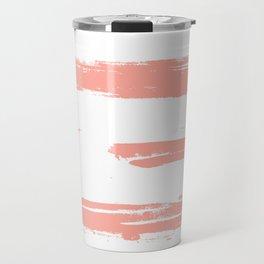 Pretty Pink Brush Stripes Horizontal Travel Mug