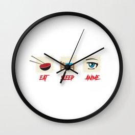 Japanese Manga Anime Gift Print Eat Sleep Anime Repeat Print Wall Clock