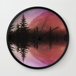 Sunset forest reflections Wall Clock