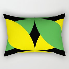 Green Yellow four-leaf clover in a strong deep dark black sky. They are hugging.They love each other Rectangular Pillow