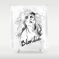 blondie Shower Curtains featuring Blondie New Wave by Usagi Por Moi