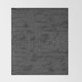 Alligator Black Leather Throw Blanket