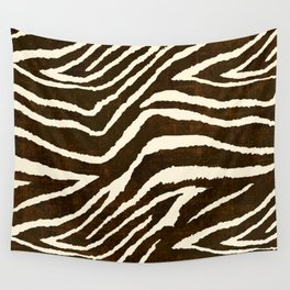 Animal Print Zebra in Winter Brown and Beige Wall Tapestry