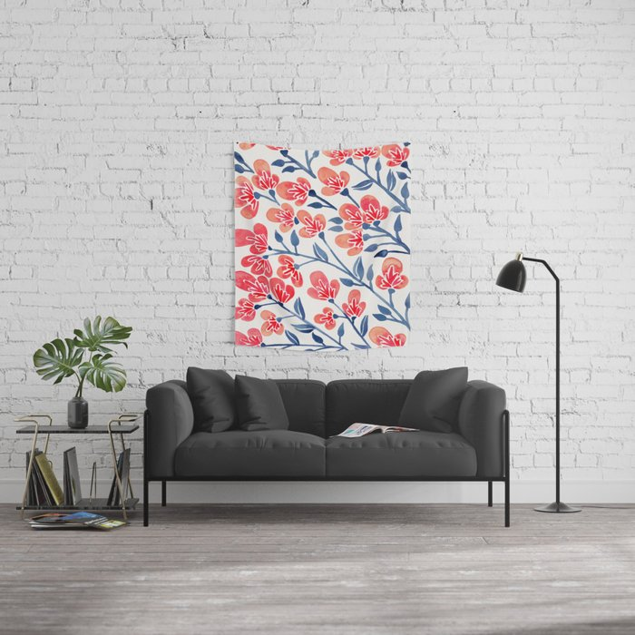 Cherry Blossoms – Melon & Navy Palette Wall Tapestry