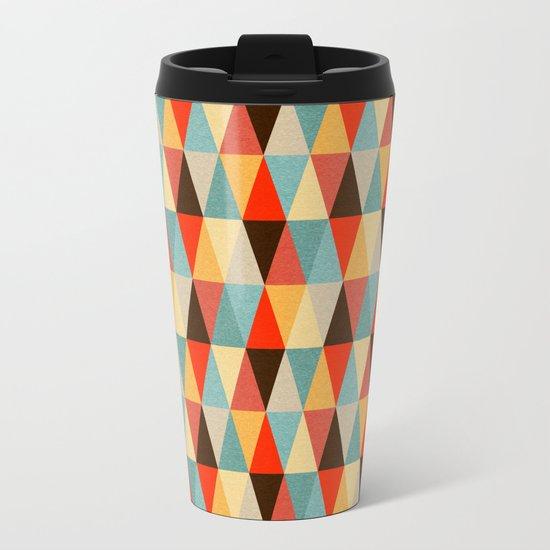 Red & Brown Geometric Triangle Pattern Metal Travel Mug