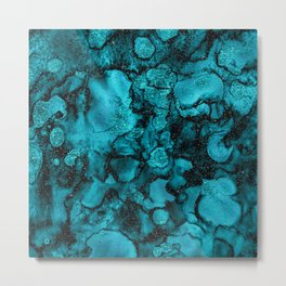 Blue Gemstone and Ink Malachite Glitter Marble Metal Print