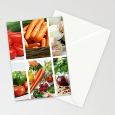 Vegetable Bounty Collage - Kitchen or Cafe Decor Stationery Cards