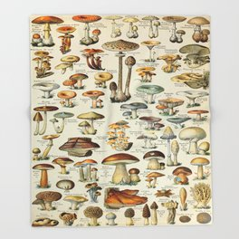 Mushrooms Vintage Scientific Illustration French Language Encyclopedia Lithographs Educational Throw Blanket