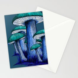 Magically Blue Mushrooms Stationery Cards