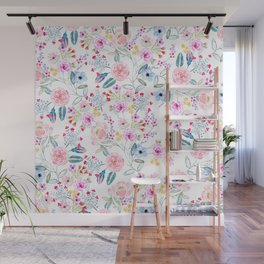 Vintage floral Watercolor hand paint design Wall Mural