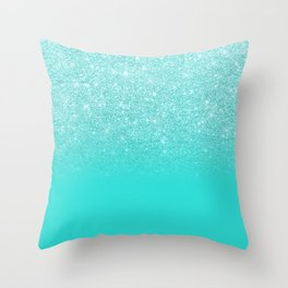 Modern chic sparkes girly turquoise glitter ombre gradient Throw Pillow