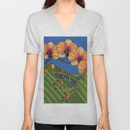 Tree Frog with Orchids Unisex V-Neck