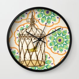 Bird in cage on Pattern by Sandy Thomson Wall Clock