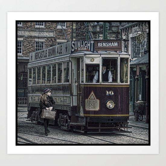 Evacuee leaving on tram Art Print