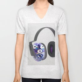 Different Sized Discs II Protection Earmuffs Unisex V-Neck