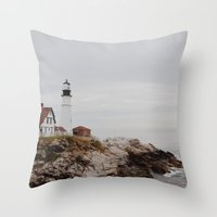 maine Throw Pillows featuring Maine lighthouse by Zak Patterson
