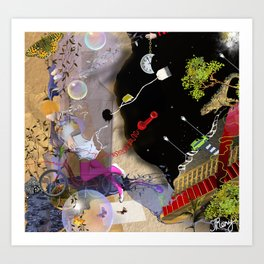 beautiful woman floating among abstract objects, raster illustration Art Print
