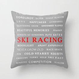 Ski Racing Light Grey Throw Pillow