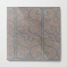 Blue Grey S Curve Curls Terracotta Wall Metal Print