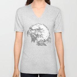 bald eagle 03 neon lines white Unisex V-Neck