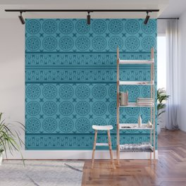 African Ethnic Tribal Blue Pattern Wall Mural