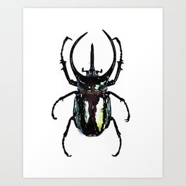 stag beetle watercolor green and black Art Print