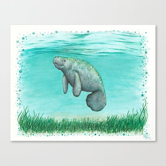 """""""Mossy Manatee"""" by Amber Marine ~ Watercolor & Ink Painting, (c) 2016 Canvas Print"""