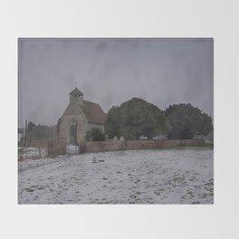 Goodnestone Church In Winter Throw Blanket
