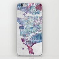 vancouver iPhone & iPod Skins featuring Vancouver map by MapMapMaps.Watercolors