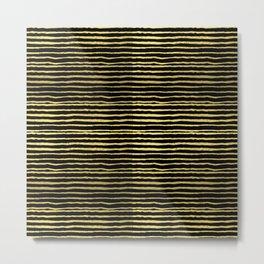 Gold and black stripes minimal modern painted abstract painting minimalist decor nursery Metal Print