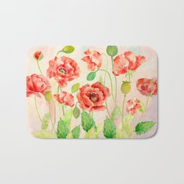 Watercolor Red Oriental Poppies Bath Mat
