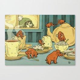 Tiny Mammoths In My Tea Canvas Print