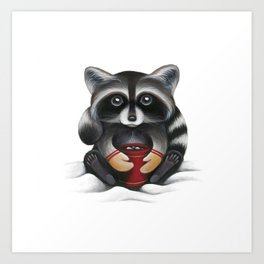 Raccoon with Hot Chocolate Art Print