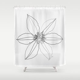 """"""" Botanical Collection """" - Clematis Flower Shower Curtain"""