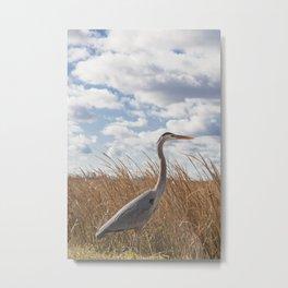 Crane in Winter Metal Print
