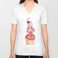 dessert V-neck T-shirts featuring Dessert Princess by Kaylynn Franco