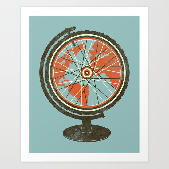 Cycling Around The World Art Print