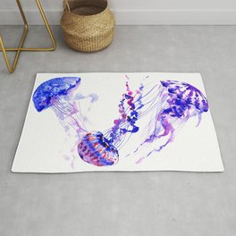 Jellyfish, sea world marine blue aquatic shower purple blue design Rug