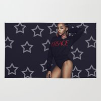 versace Area & Throw Rugs featuring Tinashe Versace by Scotty Davis