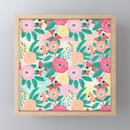 Modern brush paint abstract floral paint Framed Mini Art Print