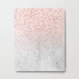 She Sparkles Rose Gold Pink Concrete Luxe Metal Print