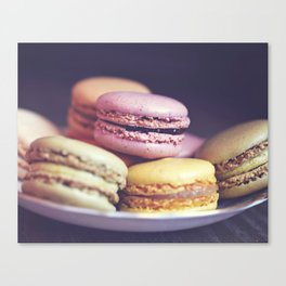 macarons on the windowsill Canvas Print